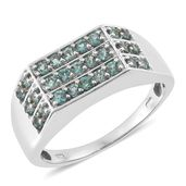 Indian Ocean Apatite Platinum Over Sterling Silver Men's Ring (Size 14.0) TGW 1.62 cts.
