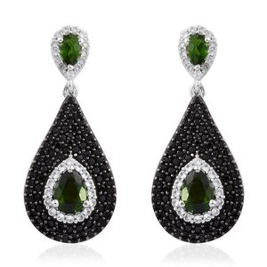 Russian Diopside, Thai Black Spinel, Cambodian Zircon Black Rhodium and Platinum Over Sterling Silver Earrings TGW 4.42 cts.