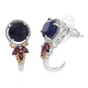 Masoala Sapphire, Orissa Rhodolite Garnet 14K YG and Platinum Over Sterling Silver J-Hoop Earrings TGW 7.44 cts.