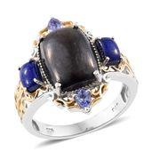 Shungite, Lapis Lazuli, Tanzanite 14K YG and Platinum Over Sterling Silver Ring (Size 8.0) TGW 6.90 cts.