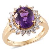 Lusaka Amethyst, Cambodian Zircon 14K YG Over Sterling Silver Ring (Size 7.0) TGW 5.43 cts.