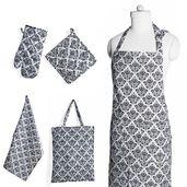 Black Damask Printed Pattern Cotton Kitchen Set (Apron, Glove, CM Pot Holder, Towel, Bag)