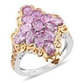 Madagascar Pink Sapphire 14K YG and Platinum Over Sterling Silver Ring (Size 6.0) TGW 3.95 cts.