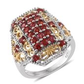 Red Sapphire 14K YG and Platinum Over Sterling Silver Ring (Size 8.0) TGW 2.44 cts.