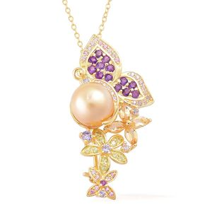 South Sea Golden Pearl (10-10.5 mm), Multi Gemstone 14K YG Over Sterling Silver Butterfly & Flowers Brooch Pendant With Chain (18 in) TGW 1.64 cts.