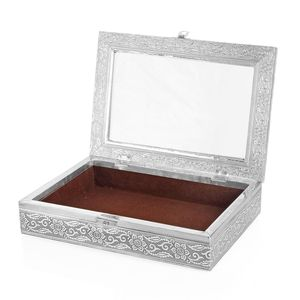 Oxidized Jewelery Box with Glass window on Top in Coffee Color Velvet (11x8x1.75 in)
