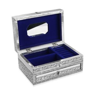 Two Tier Oxidized Jewellery Box with Eagle Embossed on Top (9x6 in)