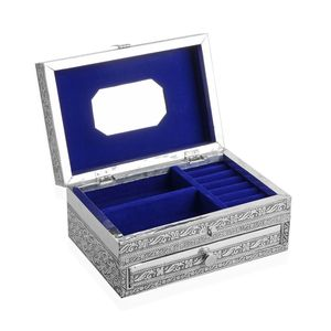 Two Tier Oxidized Jewellery Box with Elephant Embossed on Top (9x6 in)