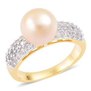 South Sea Golden Pearl (10-10.5 mm), White Zircon 14K YG Over Sterling Silver Ring (Size 8.0) TGW 1.05 cts.