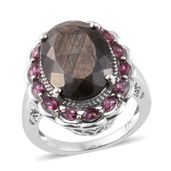 Chocolate Sapphire, Orissa Rhodolite Garnet Platinum Over Sterling Silver Sunflower Ring (Size 8.0) TGW 16.60 cts.