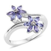 Premium AAA Tanzanite, Diamond Accent Platinum Over Sterling Silver Bypass Flower Ring (Size 9.0) TGW 1.02 cts.