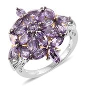 Rose De France Amethyst 14K YG and Platinum Over Sterling Silver Floral Cluster Ring (Size 5.0) TGW 5.28 cts.