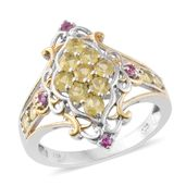 Canary Opal, Madagascar Pink Sapphire 14K YG and Platinum Over Sterling Silver Ring (Size 5.0) TGW 1.04 cts.