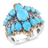 Arizona Sleeping Beauty Turquoise, Tanzanite 14K YG and Platinum Over Sterling Silver Ring (Size 6.0) TGW 6.69 cts.