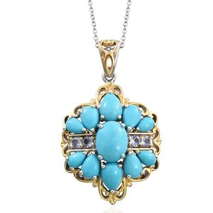 Arizona Sleeping Beauty Turquoise, Tanzanite 14K YG and Platinum Over Sterling Silver Pendant With Chain (20 in) TGW 5.77 cts.