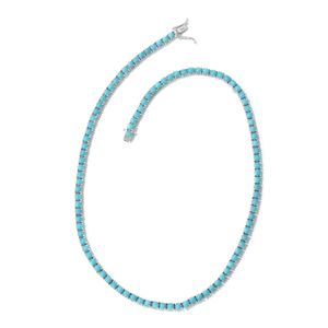 Arizona Sleeping Beauty Turquoise Platinum Over Sterling Silver Tennis Necklace (18 in) TGW 28.48 cts.