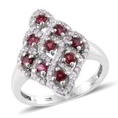 Burmese Red Spinel, Cambodian Zircon Platinum Over Sterling Silver Ring (Size 5.0) TGW 1.40 cts.
