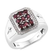Burmese Red Spinel, Cambodian Zircon Sterling Silver Cross Men's Ring (Size 9.0) TGW 5.44 cts.