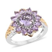 Rose De France Amethyst 14K YG and Platinum Over Sterling Silver Flower Ring (Size 5.0) TGW 3.60 cts.