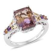 Anahi Ametrine, Amethyst, Brazilian Citrine 14K YG and Platinum Over Sterling Silver Ring (Size 8.0) TGW 4.96 cts.