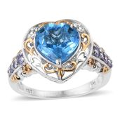 Marambaia Topaz, Tanzanite 14K YG and Platinum Over Sterling Silver Heart Ring (Size 10.0) TGW 4.54 cts.
