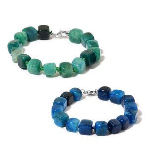 Green and Blue Agate Beads Sterling Silver Set of 2 Bracelets (7.50 In) TGW 272.50 cts.