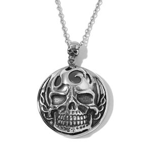 Black Oxidized Stainless Steel Skull Pendant With Chain (24 in)