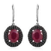Niassa Ruby, Thai Black Spinel Black Rhodium and Platinum Over Sterling Silver Lever Back Earrings TGW 9.22 cts.