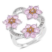 Simulated Pink Diamond, Yellow and White Austrian Crystal Stainless Steel Floral Ring (Size 9.0) TGW 3.03 cts.