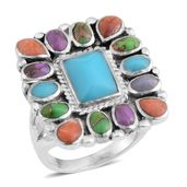 Santa Fe Style Turquoise, Multi Gemstone Sterling Silver Ring (Size 5.5) TGW 0.75 cts.