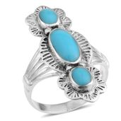 Santa Fe Style Turquoise Sterling Silver Ring (Size 12.0) TGW 1.25 cts.
