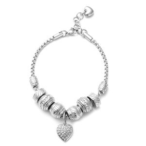Austrian Crystal Stainless Steel Heart Charm Bracelet (7.00-8.00In)