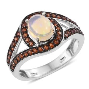 Ethiopian Welo Opal, Mozambique Garnet Platinum Over Sterling Silver Ring (Size 5.0) TGW 2.05 cts.