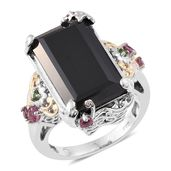 Thai Black Spinel Ring in 14K YG and Platinum Over Sterling Silver Total Gem Stone Weight 21.70 Carat (Size 7.0)