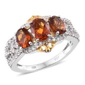 Dan's Jewelry Selections Santa Ana Madeira Citrine, Cambodian Zircon 14K YG and Platinum Over Sterling Silver Ring (Size 9.0) TGW 3.39 cts.