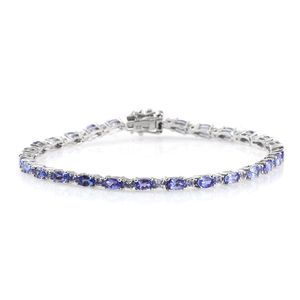 Tony's Collector Show Tanzanite Platinum Over Sterling Silver Tennis Bracelet (8.00 In) TGW 8.30 cts.