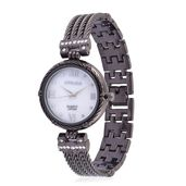 STRADA Austrian Crystal Japanese Movement Watch in Dark Silvertone with Stainless Steel Back