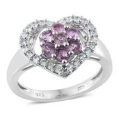 Madagascar Purple Sapphire, Cambodian Zircon Platinum Over Sterling Silver Heart Ring (Size 7.0) TGW 1.48 cts.
