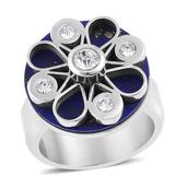 Lapis Lazuli, White Austrian Crystal Stainless Steel Ring (Size 9.0) TGW 3.20 cts.