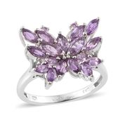 Madagascar Purple Sapphire Platinum Over Sterling Silver Butterfly Ring (Size 6.0) TGW 3.04 cts.