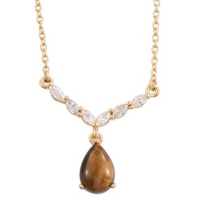 South African Tigers Eye, Simulated Diamond 14K YG Over Sterling Silver Necklace With ION Plated YG Stainless Steel Chain (20 in) TGW 2.90 cts.