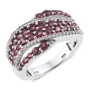 Burmese Red Spinel, Cambodian Zircon Platinum Over Sterling Silver Criss Cross Ring (Size 9.0) TGW 2.41 cts.