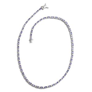Tanzanite, Cambodian Zircon Platinum Over Sterling Silver Tennis Necklace (18 in) TGW 17.50 cts.