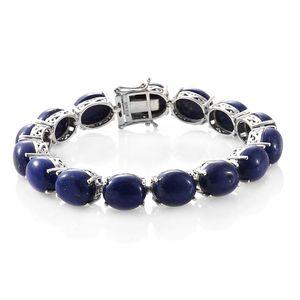 Lapis Lazuli Platinum Over Sterling Silver Line Bracelet (7.50 In) TGW 88.90 cts.
