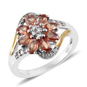 Orange Sapphire, Cambodian Zircon 14K YG and Platinum Over Sterling Silver Ring (Size 10.0) TGW 2.87 cts.