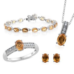 One Day TLV Brazilian Citrine, Cambodian Zircon Platinum Over Sterling Silver Bracelet (7.50 in), Earrings, Ring (Size 9) and Pendant With Chain (20.00 In) TGW 16.37 cts.