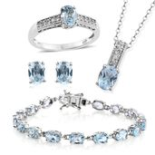 One Day TLV Sky Blue Topaz, Cambodian Zircon Platinum Over Sterling Silver Bracelet (7.50 in), Earrings, Ring (Size 6) and Pendant With Chain (20.00 In) TGW 21.80 cts.
