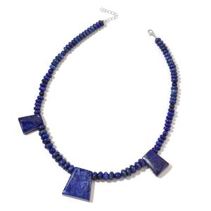 Lapis Lazuli Silvertone Necklace (18 in) TGW 448.00 cts.