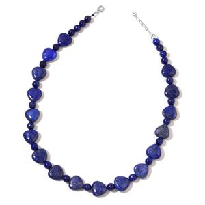 Lapis Lazuli Beads Silvertone Necklace (18 in) TGW 349.50 cts.
