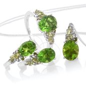 Chartreuse Quartz, Hebei Peridot, Russian Diopside Platinum Over Sterling Silver J-Hoop Earrings, Ring (Size 9) and Pendant With Chain (20 in) TGW 10.61 cts.